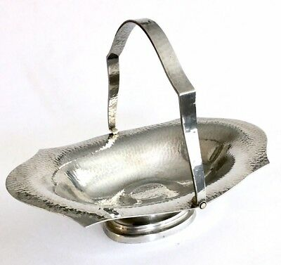 Arts And Crafts Hammered Pewter Bon Bon Dish With Handle By Armada England