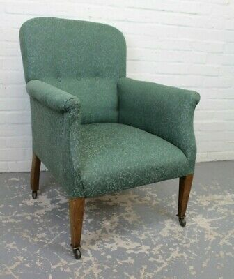 Antique Edwardian Edward VII Inlaid Mahogany Blue Library Elbow Chair Armchair