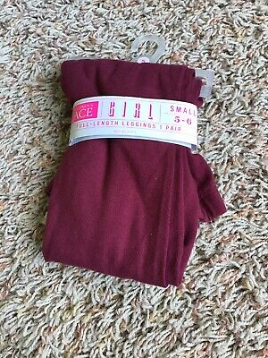 The Childrens Place Girls Maroon Leggings NEW 5-6