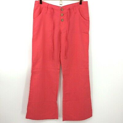 Body Central Linen Pants Women's Medium Orange Wide Leg Trouser