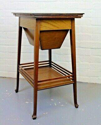 Antique Arts & Crafts Inlaid Mahogany Fitted Sewing Table Work Table