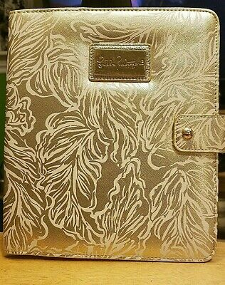 Lilly Pulitzer Agenda Folio Gold Leaf Leatherette Cover With Pen Loop NWT