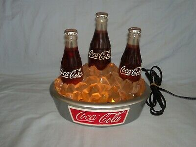 Vintage Coca-Cola 3-Coke Bottle Lighted Water Fountain
