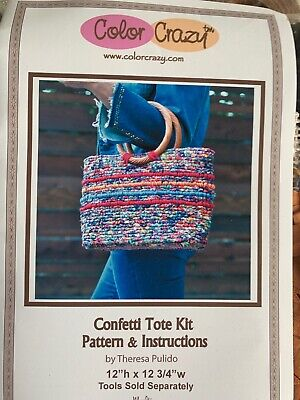 Confetti Tote Bag Locker Hook Kit 12x12.75 Color Crazy Theresa Pulido Unworked