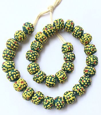 Ghana Green Multi colored recycled glass Short strand African Trade beads