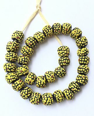Ghana Yellow Multi colored recycled glass Short strand African Trade beads