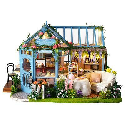 DIY Miniature Dollhouse Kit Realistic 3D Wooden House Room Toy LED Light Set
