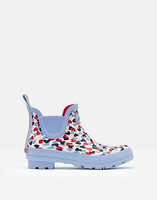 Joules Womens Wellibob Short Height Wellies - BLUE HEARTS