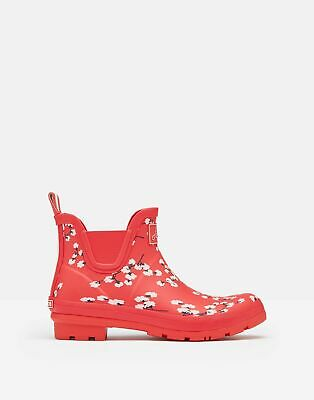 Joules Womens Wellibob Short Height Wellies - RED DITSY