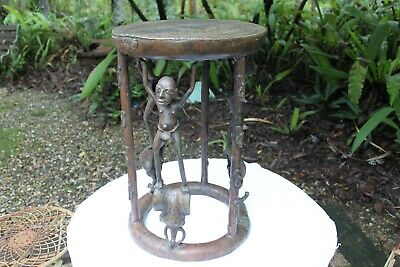 African Bronze Stool ,Lost Wax Method ,Very Rare ,Cameroons Grasslands People .