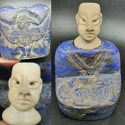 Top Quality Lapiz Lazuli Stone  Bactrain Prince Idol Statue With His Falcon Bird