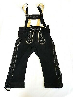 Ladies Leather Trousers 3/4-Hose Strap Bayernhosen Costumes Embroidery Black 44
