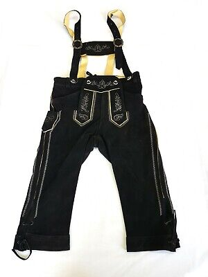 Ladies Leather Trousers 3/4-Hose Strap Bayernhosen Costumes Embroidery Black 34