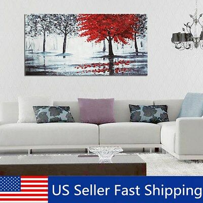 Red Forest Canvas Modern Home Wall Decor Art Painting Picture Print No Frame  A