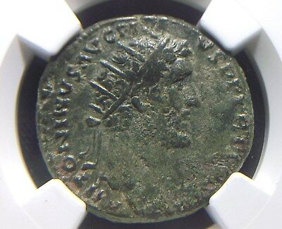 Authentic AE Dupondius of Roman Emperor Antoninus Pius, NGC VF 9007