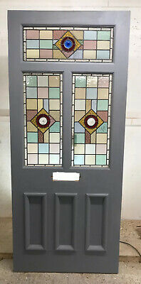 Large Victorian Edwardian Stained Glass Front Door Period Old Reclaimed Antique