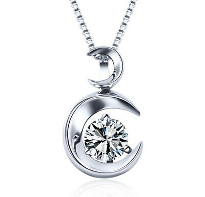 Sterling Silver Moon Pendant Necklace with a Clear CZ Stone, 18'' S925 Box Chain