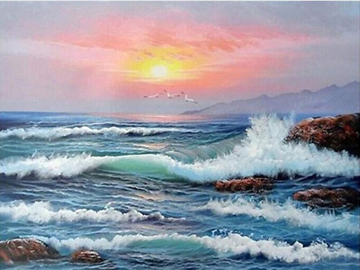YEESAM ART DIY Paint by Numbers for Adults Beginner Kids, Sunset Sea Waves 16x20
