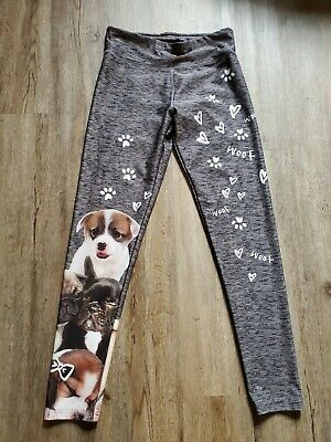 Justice For Girls Size 16  yoga pants leggings puppies dogs gray EUC ships $0
