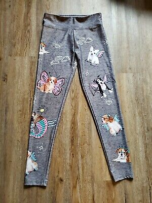 Justice For Girls Size 16  yoga pants leggings puppies unicorn gray EUC ships $0