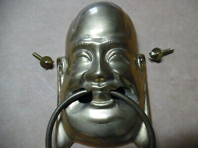 "Vtg Brass Laughing Smiling Buddha Door Knocker  8"" X 3 3/4"" W/Striker Plate"