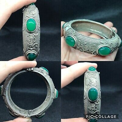 Wonderful rare Unique old Tibetan jade stone silver bangle