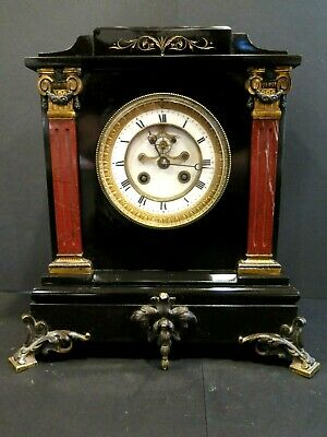 Japy Freres Slate Red Marble Porcelain Antique French Clock Mantle Shelf Working