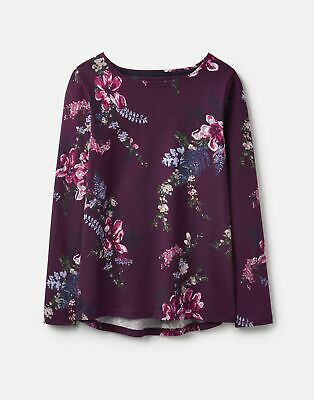 Joules 207171 Long Sleeved Printed Jersey Top Shirt - PLUM HARVEST FLORAL