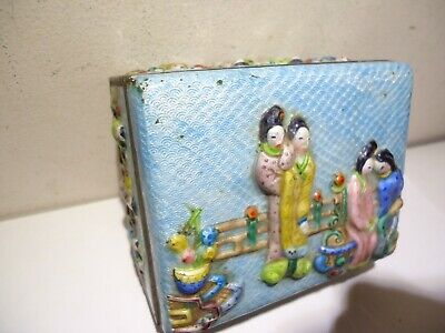 Antique Chinese Enamel Repousse Brass Box High Relief Women Figures Blue Trinket