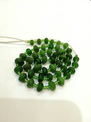 Ancient rare Antique Roman lovely Green color glass  Beads Necklace Roman Glass