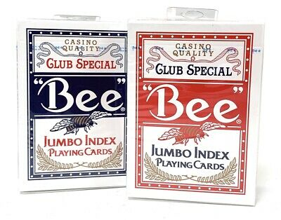2 Deck Bee Jumbo Playing Cards Red and Blue