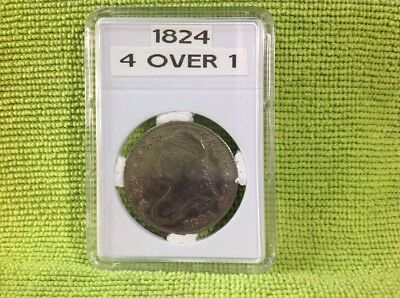 1824 - 4 Over 1 - Capped Bust Half Dollar In Bcw Slab Type Holder - Vf