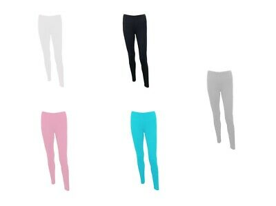 Plain Stretchy Soft Leggings Ladies Womens Viscose Lycra With Elasticated Waist