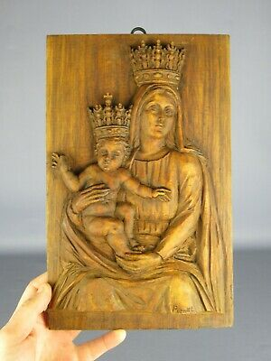 Icon Devotional Board Wood with Figure Carved by hand Xx Century