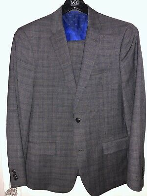 Ben Sherman Men's Slim Fit Two Button Suit - Gray/Blue Plaid - 42R, 36W/32L