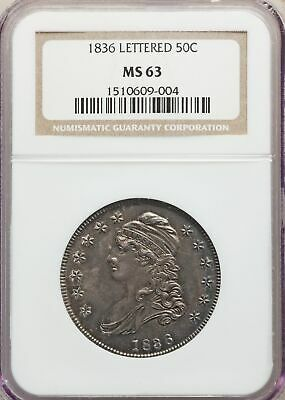 1836 US Silver 50C Capped Bust Half Dollar - Ltrd Edge - NGC MS63