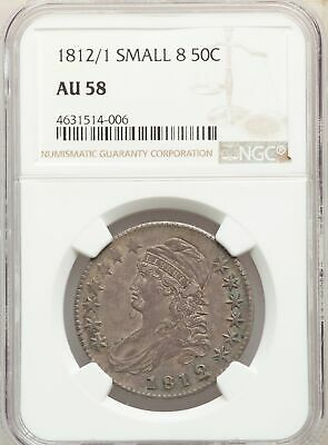 1812/1 US Silver 50C Capped Bust Half Dollar - Small 8 - NGC AU58