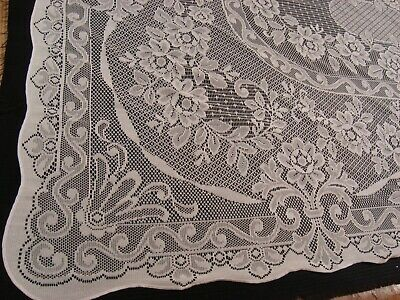 """New QUAKER LACE FABRIC TABLECLOTH polyester  Ivory 54"""" x 72"""" Oblong Scalloped"""