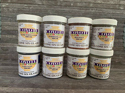 Coyote Cone 6 Glaz for Ceramics - 8 Colors - 4 oz jars