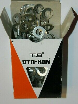 "New Box of 100 Thomas & Betts B14-14 Sta-Kon 18-14AWG Ring Terminal 1/4"" Bolt"
