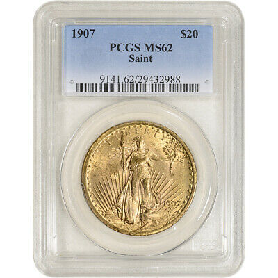 1907 US Gold $20 Saint-Gaudens Double Eagle - PCGS MS62
