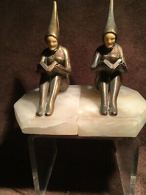 J.B. Hirsch Art Deco Pixie Bronze Reader Book Ends (circa 1920-1930)