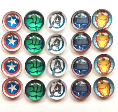 BB 12MM GLASS CABOCHONS - AVENGERS 5 pairs / 10 dome flatbacks characters