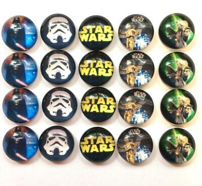 BB 12MM GLASS CABOCHONS - STAR WARS 5 pairs / 10 dome flatbacks characters