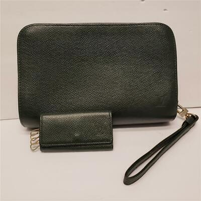 LOUIS VUITTON Baikal Clutch Bag Epicea Taiga Leather AND 4 Rings Key Holder Case