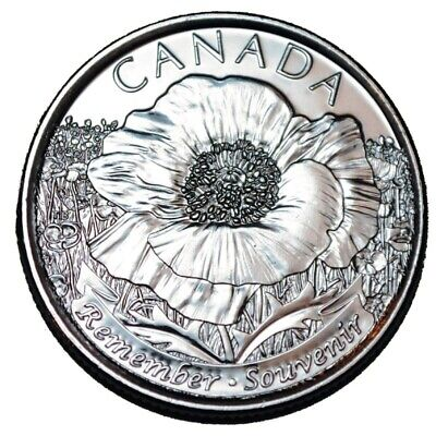 2015 Remembrance Poppy Quarters Canadian Coins Non-Coloured