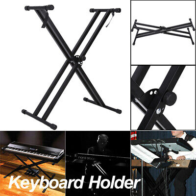 Portable Heavy Duty Folding Adjustable Keyboard Stand Double X Frame Mount