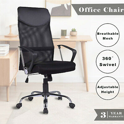 High Back Executive Office Chair Computer Gaming PU Leather Mesh Chairs Black