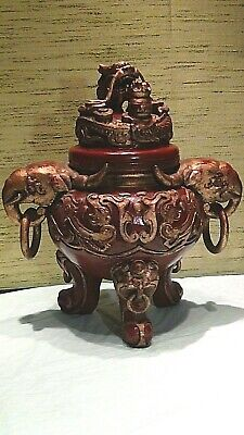 ANTIQUE 19c CHINESE WOOD CARVED RED LACQUERED HIGH RELIEF GILT DRAGON TRIPOD JAR