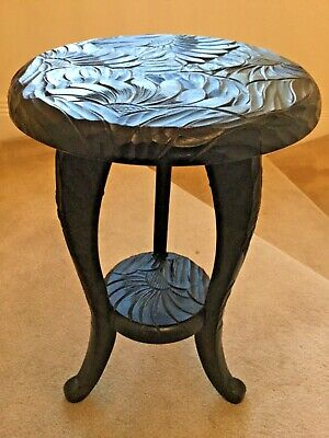 Liberty & Co. Arts & Crafts, Japanese Carved Table, Sunflowers c1910 45cm x 29cm